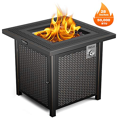 Propane Fire Pit Table, TACKLIFE Outdoor Companion, 28 Inch 50,000 BTU Auto-Ignition Gas Fire Pit Table with Cover, CSA Certification and Strong Striped Steel Surface, Table in Summer, Stove in Winter (Gas Designs Outdoor Pits Fire)