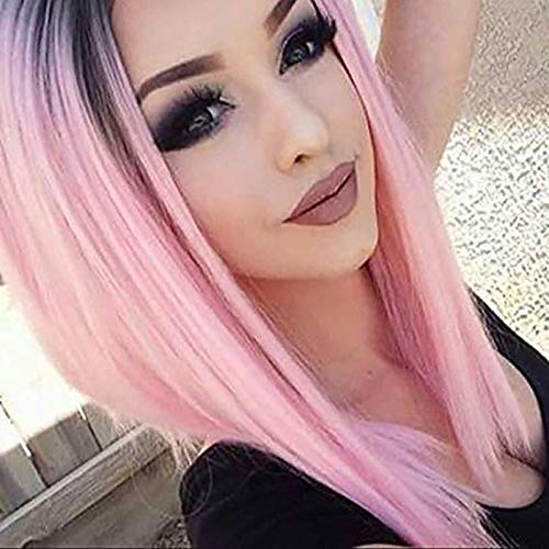 HiDoLa Trendy Hairstyles Ombre Pink Synthetic Wig with Dark Roots Short Bob Wigs for Women Natural Looking 2 Tone Black to Baby Pink Bob Ombre Wig Heat Resistant(14inches)