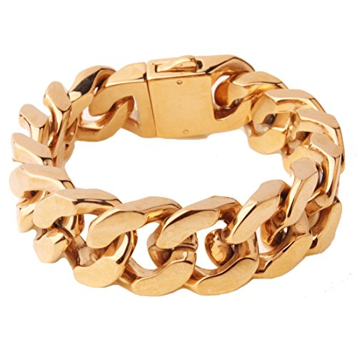 Top Quality 20mm Men¡¯s Stainless Steel Cuban Curb Link Chain Bracelet(Gold Plated)