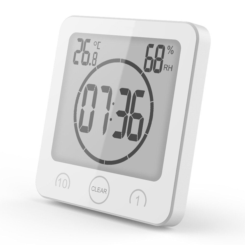 qiaoW Digital LCD Waterproof Shower Clock Suction Countdown Alarm Timer Temperature Humidity