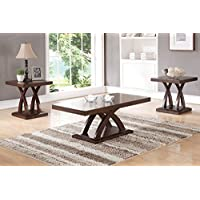 3PCS Coffee End Table Set features uniquely crafted platform leg supports display a smooth wood tabletop