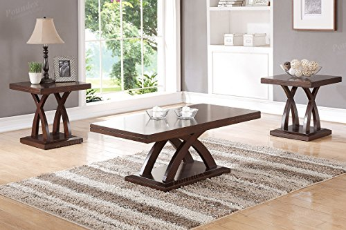 3PCS Coffee End Table Set features uniquely crafted platform leg supports display a smooth wood tabletop by Advanced Furniture