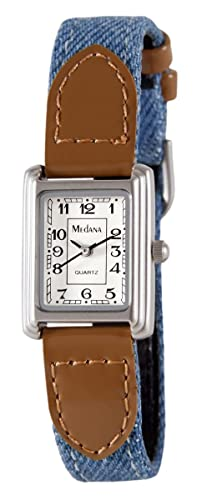 Medana Womens Silver-Tone Denim Strap Watch # 6430SX