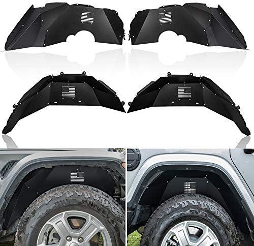 Opall Fits for Jeep Wrangler Front &Rear Inner Fender Liners fit Jeep Wrangler 2018 2019 JL JLU US Logo Aluminum Lightweight Design Black Splash Guards (Black)