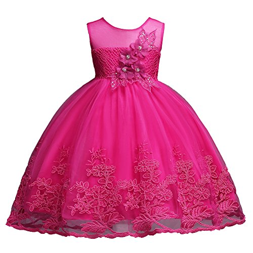 Rose Hot Pink Girl Sequins Beading Lace Ball Gown Dress for Wedding Party Formal Size 4T Flower Dresses Girls Special Occasion Fancy 5 Years Princess Summer Dress Sleeveless (Rose 120)