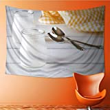SOCOMIMI Elastic Fabric Tapestry,yogurt yellow napkin and spoon on white painted wood Home Decor(59W x 51.1L INCH)