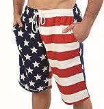 Patriotic American USA FLAG Lightweight Fleece Shorts 3130Flag L