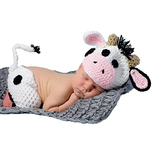 Baby Cow Outfit - Baby Photography Props Boy Girl Photo Shoot Outfits Newborn Crochet Costume Infant Knitted Clothes Cow Hat Pants