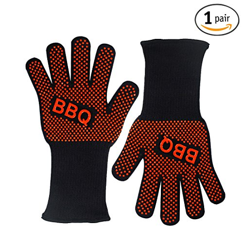 me Heat Resistant Oven Gloves/Grill Gloves/BBQ Gloves, New Triple Protection Oven Mitts Grill Mitts, Total Finger Hand Wrist Protection-14 inch,Black and Red, (1 pair) (Dot Pot Mitt)