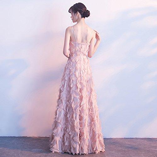 Rosa Elegante Abendkleid Weiblich Brautjungfer Rosa Edle gediegene Sexy Absatz Atmosphäre Kleid Langen MoMo Rock Bankett qp6wIP