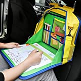 KIPTOP Kids Travel Tray Car Organiser, Children Snack and Play Tray for Car Bus Train and Plane Journeys