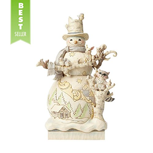 Enesco, Jim Shore Heartwood Creek White Woodland Snowman Statue