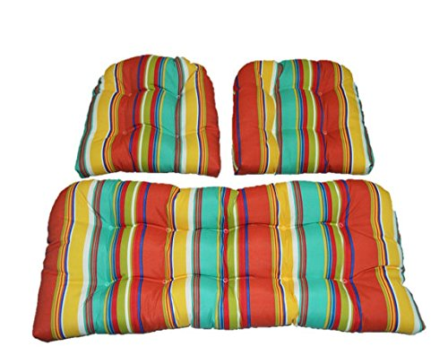RSH Decor 3 Piece Wicker Cushion Set - Indoor/Outdoor Yellow, Green, Blue, Coral Bright Stripe Pattern Fabric Cushion for Wicker Loveseat Settee & 2 Matching Chair Cushions ()
