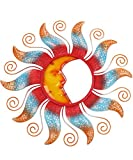 Liffy Metal Sun Wall Decor Outdoor Moon Glass Sculpture Colorful Hanging Decorations for Patio, Garden or Living Room