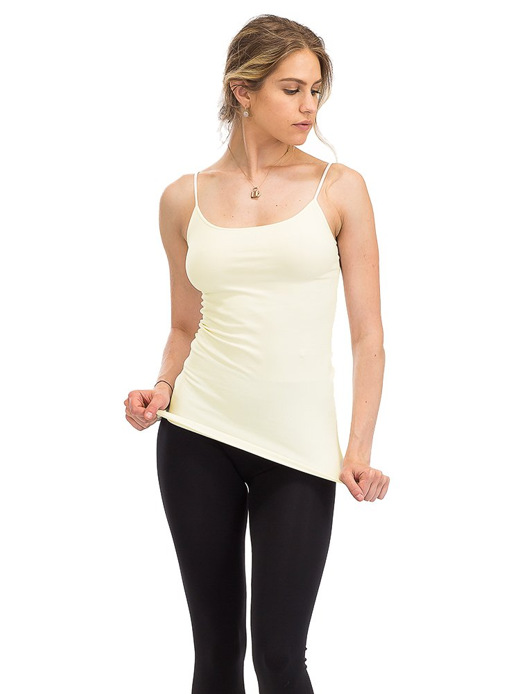 ShyCloset Basic Seamless Long Camisole Tanktop Soft Stretch Long Spaghetti Strap One Size Made in USA (Ivory)