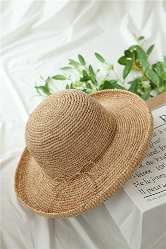 peixin Hand-Woven Raffia Straw Hat Cap Spring Summer Large Brimmed Flanging Wide-Brimmed Women Girls Spring Summer Unique Primary Color Flat-Brimmed Sun (Hand Woven Cap Straw)