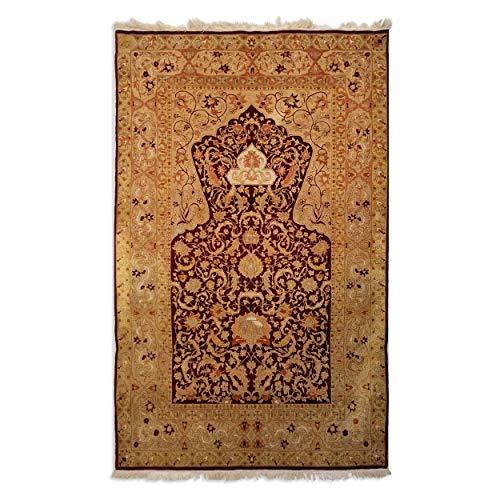 (3'4 x 5'4 Antique Silk Turkish Hereke Rug)