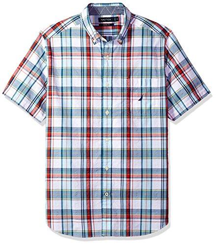 Nautica Men's Short Sleeve Plaid Button Down Shirt, Bright White, Large