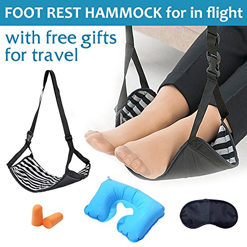 Airplane, Portable Foot Rest Flight Foot Rest Hammock Feet Rest for Plane Desk Office with Free Inflatable Pillows & Eye Mask & Earplug Travel Accessories (International Eye)