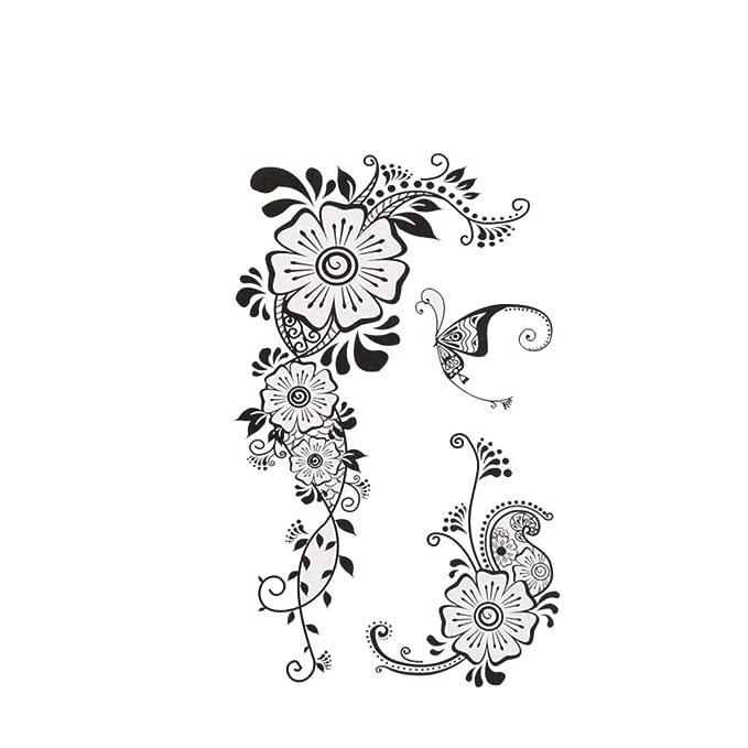 Chic-Net - Tatuaje temporal, diseño de flores, hojas y mariposas ...
