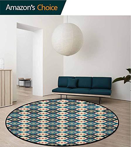 RUGSMAT Native American Modern Washable Round Bath Mat,Ethnic Braided Carpet Inspired View Mosaic Tribal Art Design Print Non-Slip Bathroom Soft Floor Mat Home Decor,Round-51 -