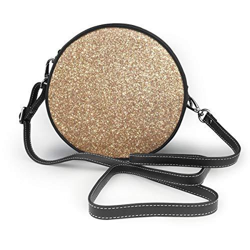 Copper Rose Gold Metallic Glitter Shoulder Bag Round Crossbody Purse Handbag for Women Girls