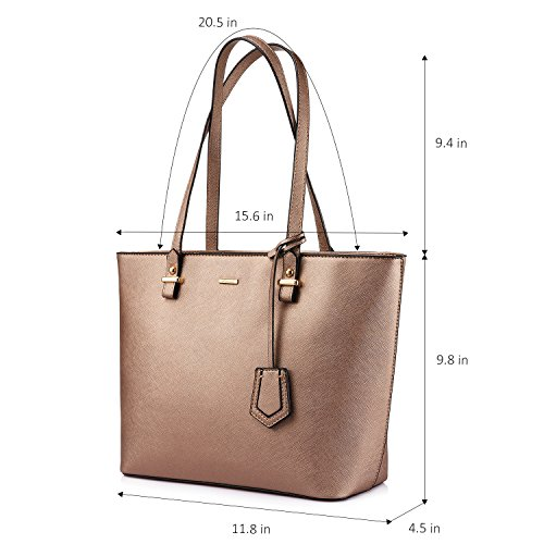 Set for Tote Satchel Women Handbags Gold Shoulder Bronze Hobo 3pcs Purse Bags 1HZqnzaR