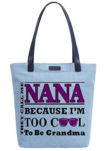 So'each Women's Cool Nana Graphic Denim Dye Handbag Tote Shoulder Shopper Bag Azul