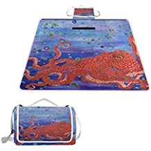 imobaby Red Octopus Art Outdoor Picnic Blanket Mat,Extra Large Foldable and Waterproof Family Camping Mat for Outdoor Beach Hiking Grass Travel,y8