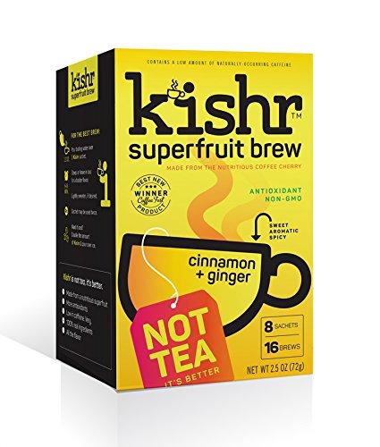 KISHR Superfruit Tea Spiced With Ginger, Cinnamon and Cardamon, Non-GMO, Organic Tea Ingredients, 8 Bags