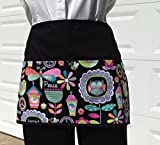 Waitress,waiter or Server, Peace, apron 3 pockets,Black half apron, kitchen cooking,crafts, and restaurants Janets Aprons