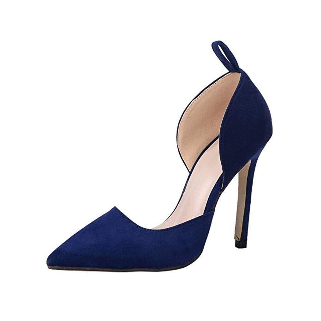 SUN HUIJIE Marineblaue High Heels Damen Zehen Stiletto High Kleid Heel Kleid High Pumps mit Bowknot (Farbe   Navy blau, größe   35) 07a74d
