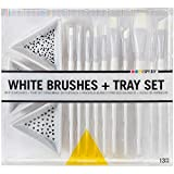 Darice 30014901 10 White Detail Artist Brushes with 3 Ceramic Paint Trays