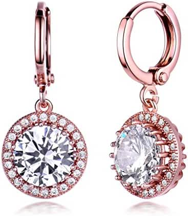 GULICX Women's Rose Gold Electroplated Zircon Vintage Style Round Hoop Earrings Dangle Leverback