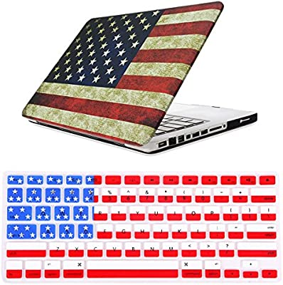 HDE MacBook Pro 13 (Non Retina) Case and Keyboard Cover Snap On Protective Hard Shell USA Flag Design Fits Old Macbook Pro 13 Inch Model A1278 with CD ...