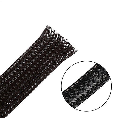 - 25ft - 1/2 inch Flexo PET Expandable Braided Sleeving - Black - Alex Tech Braided Cable Sleeve