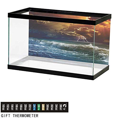 Suchashome Fish Tank Backdrop Nature,Ocean Wild Fire Waves,Aquarium Background,30