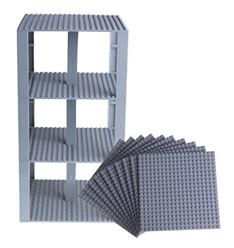 "Free Premium Light Gray Stackable Base Plates - 10 Pack 6"" x 6"" Baseplate Bundle with 80 Light Gray Bonus Building Bricks - Compatible with All Major Brands - Tower Construction"