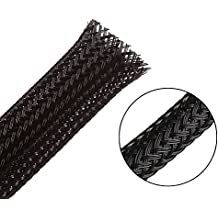 """25ft-1/2"""" Flexo PET Expandable Braided Sleeving –Black –Alex Tech braided cable sleeve"""