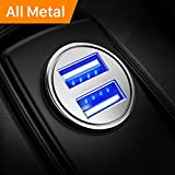 Car Charger, Ainope 4.8A Aluminum Alloy Car Charger Adapter Dual USB Port Fast Car Charging Mini Flush Fit Phone x/8/7/6s/Plus, iPad Air 2/Mini 3, Galaxy S9/S9 Plus/S8/S7/S6 - Sliver
