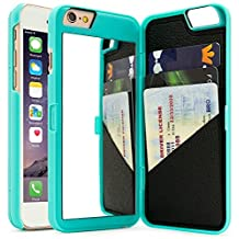 iPhone 6 6S Case, FLOVEME 4.7 inch Hidden Mirror Wallet Case with Cash ID Credit Card Slots and Stand Feature Hard Back Cover for Apple iPhone 6 and iPhone 6S - Mint Green