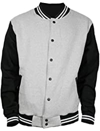 Men's Basic Cotton Varsity Jacket Gray Black