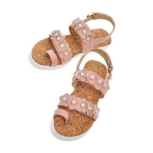 AmoonyFashion Womens Soft Material Buckle Open Toe Low-heels Solid Sandals Pink kJpKXnrZ