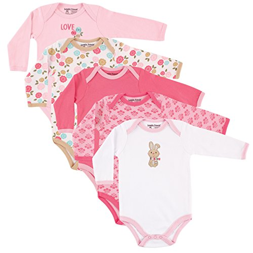 Luvable Friends Baby 5-Pack Long Sleeve Hanging Bodysuit, Pink Bunny, 0-3 Months