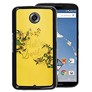 Planetar® ( Yellow Hello Sunshine Summer Quote ) NEXUS 6 / X / Moto X Pro Hard Printing Protective Cover Protector Sleeve Shell Cover Case