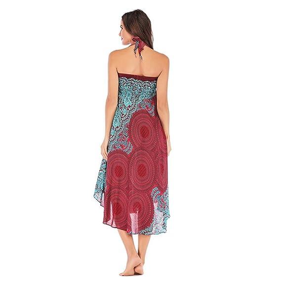 Rcool Falda Corta Faldas Faldas Mujer Invierno Faldas largas Falda Flamenca Mujer, Hippie Largo Bohemio Gypsy Boho Flores Cintura elástica Floral Halter ...
