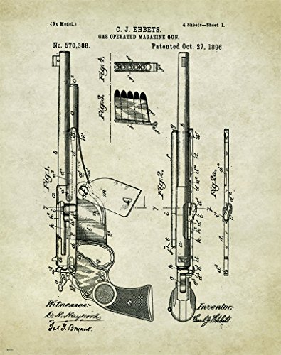 Colt Revolver Pistol Patent Poster Art Print Reproduction Hunting Sporting Clays Thrower 11x14 Wall Decor Pictures