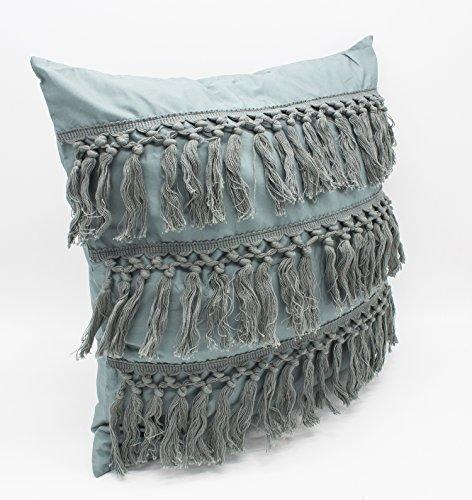 Fennco Styles Stylish Fringe Tassels Decorative Cotton Throw Pillow Sage Green, 18 x18 Case Insert