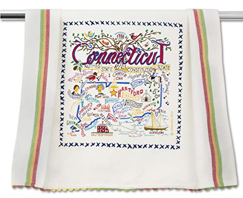 (Catstudio | Connecticut Dish Cloth, Tea Towel or Decorative Hand Towel | Geography Collection | 20
