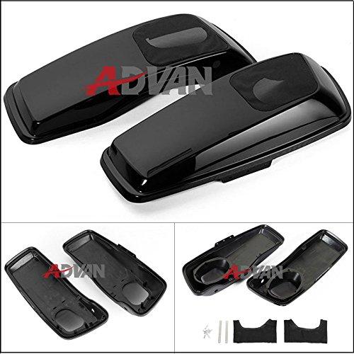 Moto OnFire advanblack Vivid/Glossy Negro 6x 9Saddle Bags tapas de altavoz Audio Cover para...